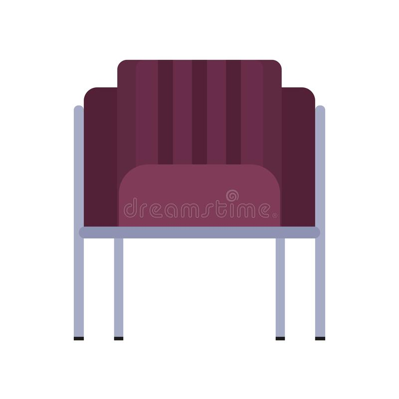 Armchair front view furniture vector icon illustration isolated. Modern interior comfortable home seat relax flat element vector illustration