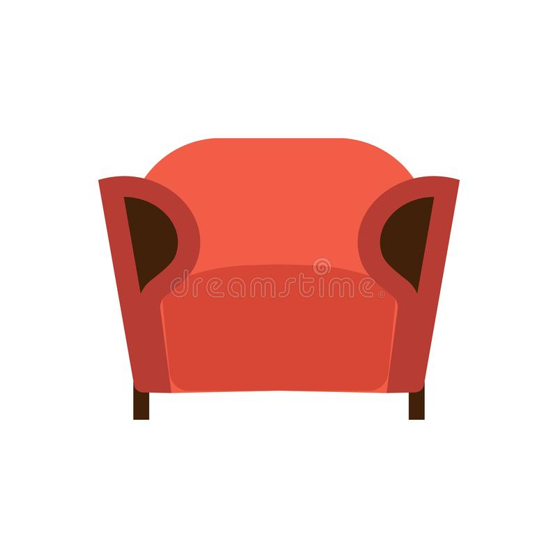 Armchair front view furniture vector icon illustration isolated. Modern interior comfortable home seat relax flat element royalty free illustration