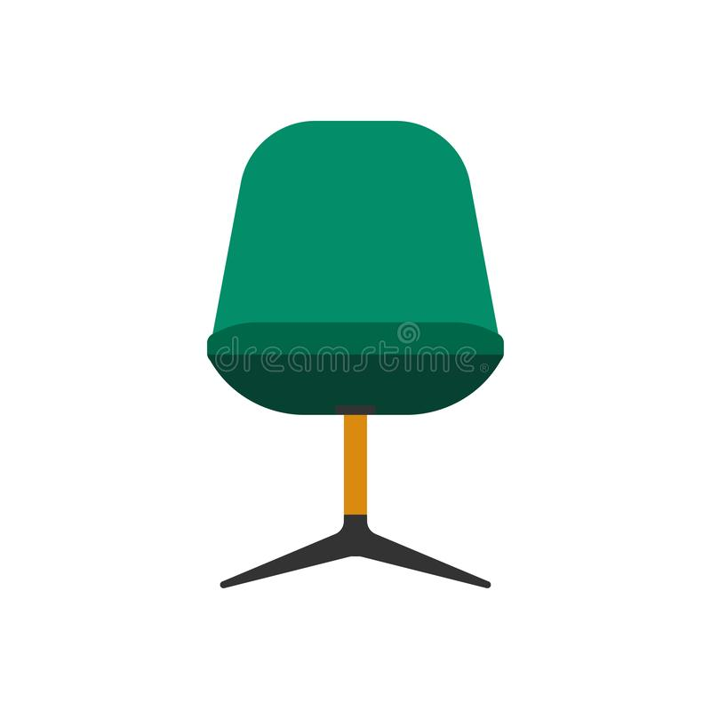 Armchair front view furniture vector icon illustration isolated. Modern interior comfortable home seat relax flat element stock illustration