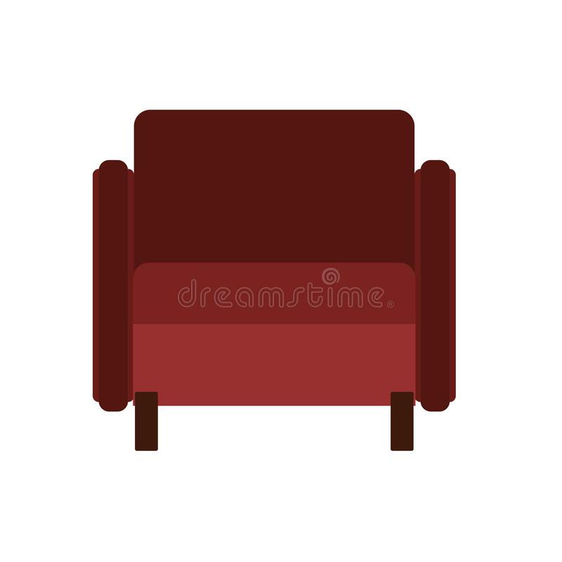 Armchair front view vector illustration interior furniture. Isolated rliving room cartoon icon. Flat indoor simple sit royalty free illustration