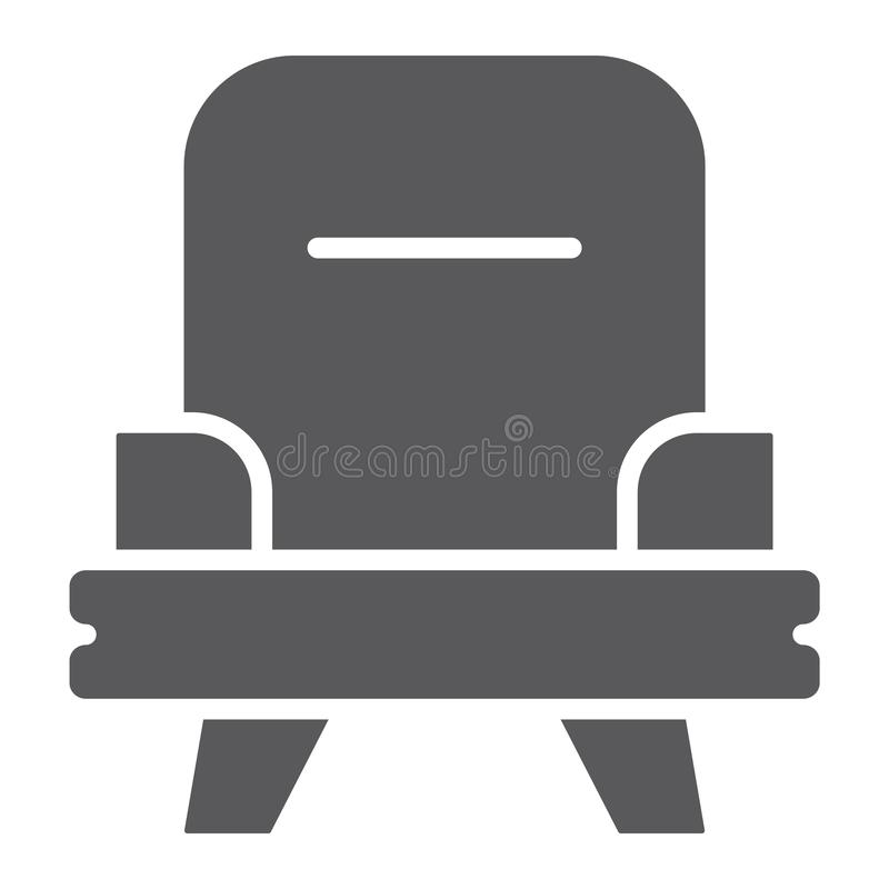 Armchair glyph icon, furniture and home, chair sign, vector graphics, a solid pattern on a white background. Armchair glyph icon, furniture and home, chair sign vector illustration