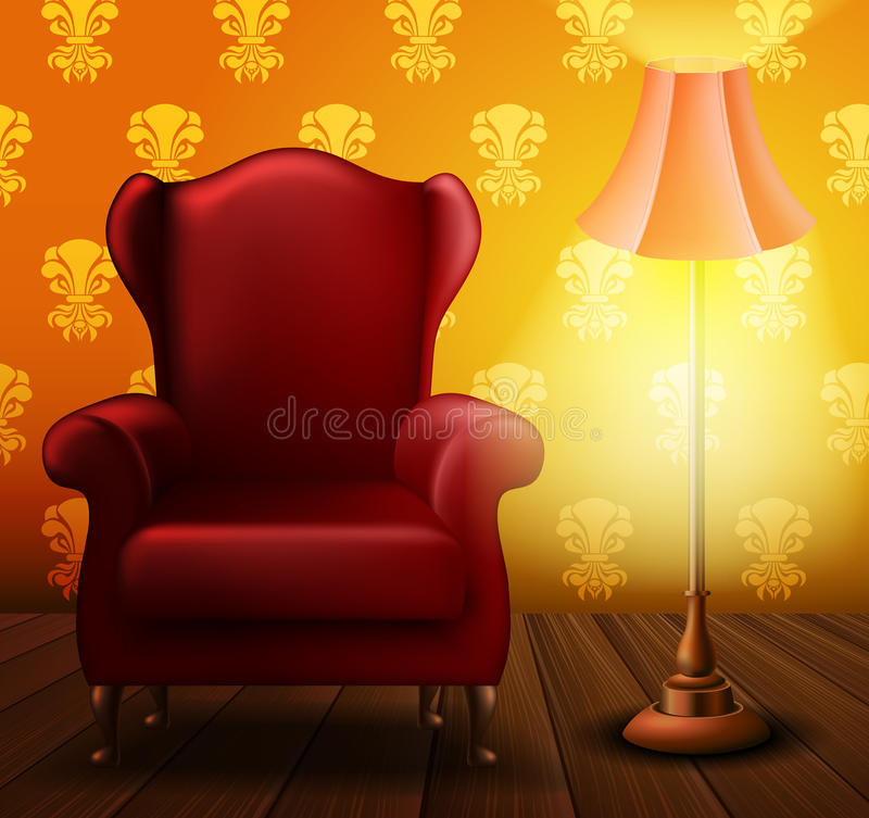 Armchair and lamp in a dark room