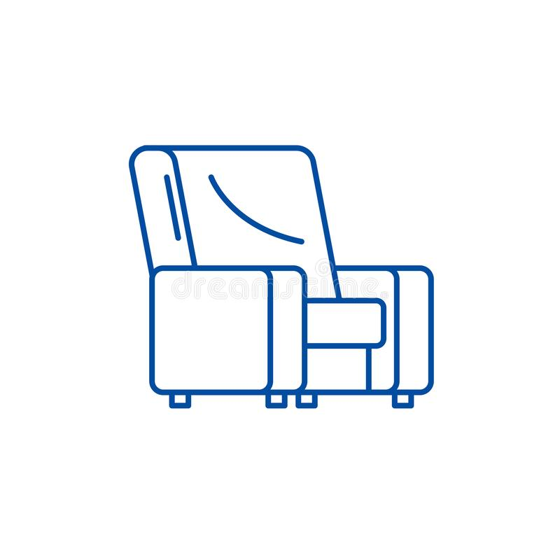 Armchair line icon concept. Armchair flat  vector symbol, sign, outline illustration. stock illustration