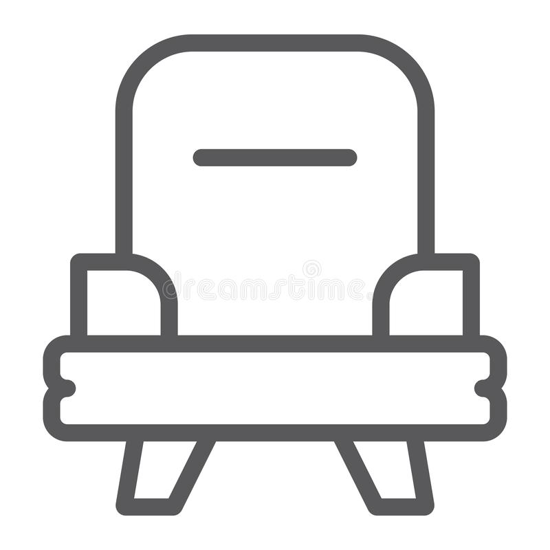 Armchair line icon, furniture and home, chair sign, vector graphics, a linear pattern on a white background. Armchair line icon, furniture and home, chair sign stock illustration
