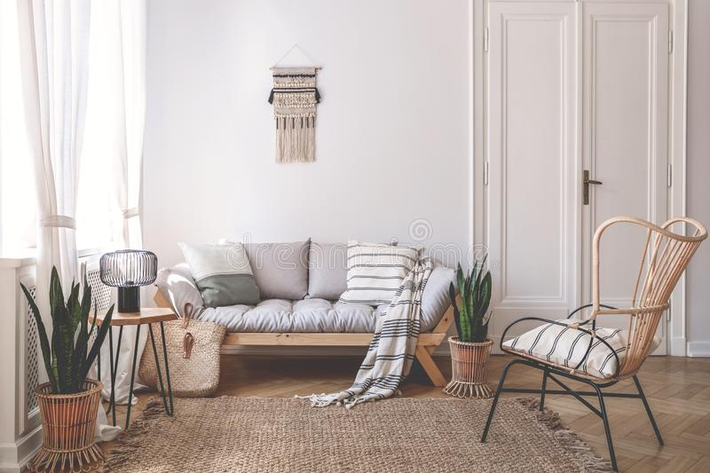 Armchair near beige sofa with pillows in living room interior with plants and door. Real photo. Concept stock photography