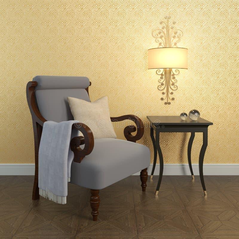 Armchair near the wall. stock photos