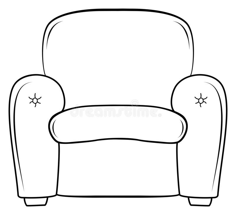 Armchair outline doodle icon. Seat vector sketch illustration. Coloring book for children royalty free illustration
