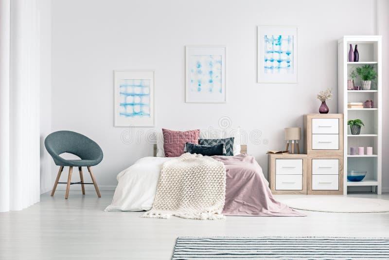 Download Armchair In Pastel Bedroom Interior Stock Photo