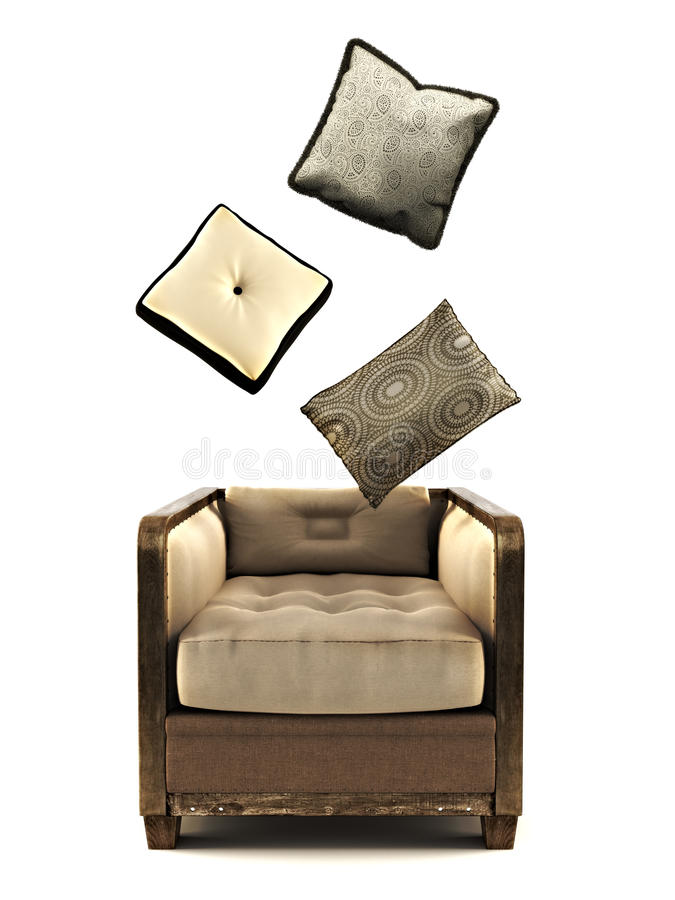 Armchair with pillows on a white royalty free illustration