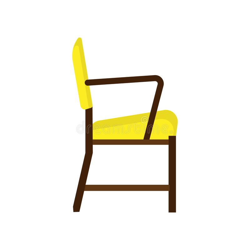 Armchair side view furniture vector icon illustration isolated. Modern interior comfortable home seat relax flat element stock illustration