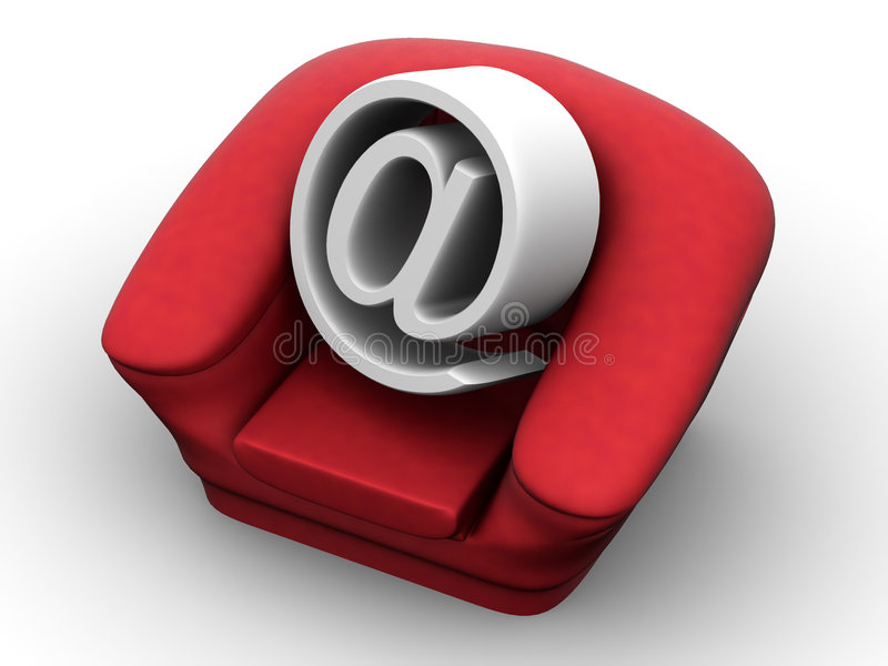 Armchair With Symbol For Internet Stock Image