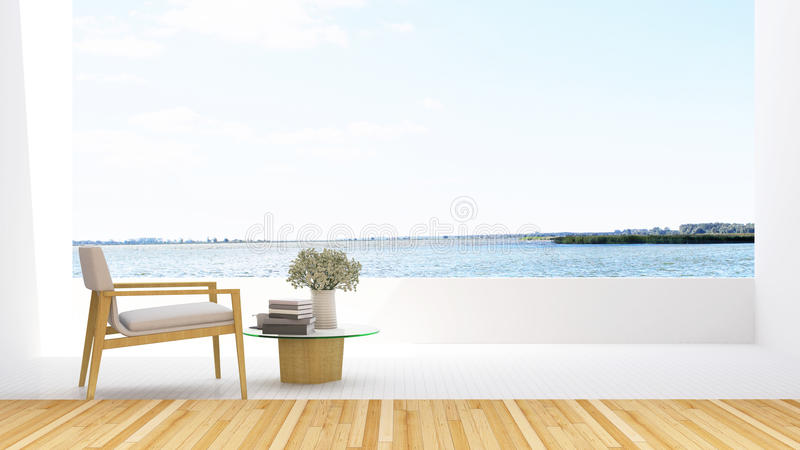 Armchair on terrace and lake view in hotel - 3D Rendering royalty free illustration