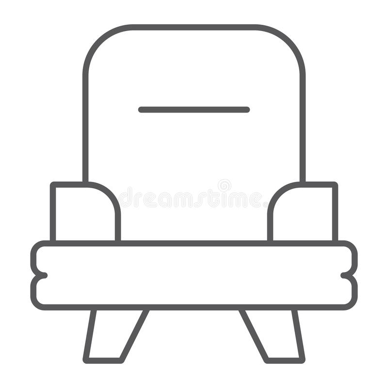Armchair thin line icon, furniture and home, chair sign, vector graphics, a linear pattern on a white background. Armchair thin line icon, furniture and home royalty free illustration