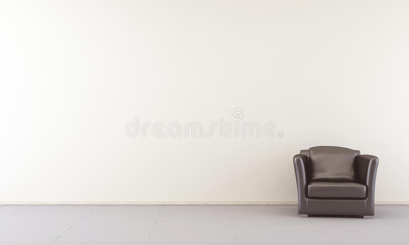 Armchair to face a blank wall. Black leather Armchair to face a blank white wall - right side royalty free illustration