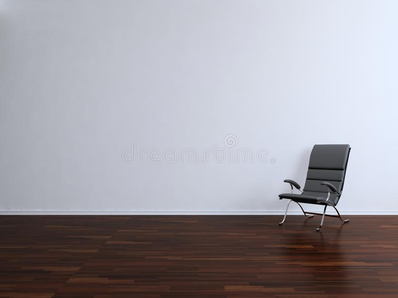 Armchair to face a blank wall. Black leather armchair to face a blank white wall stock illustration