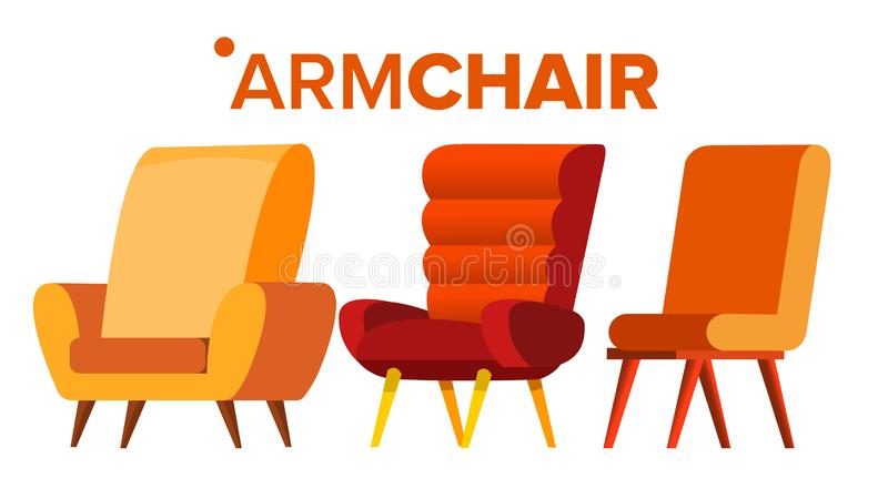 Armchair Vector. Home Furniture Isolated Flat Cartoon Illustration royalty free illustration