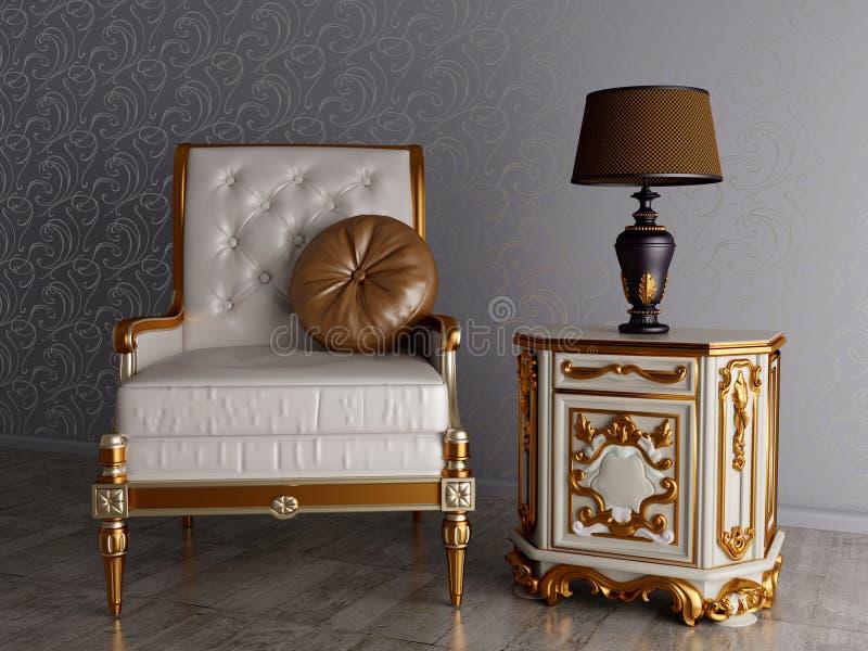 Armchair vintage chair interior vintage room design.  royalty free illustration