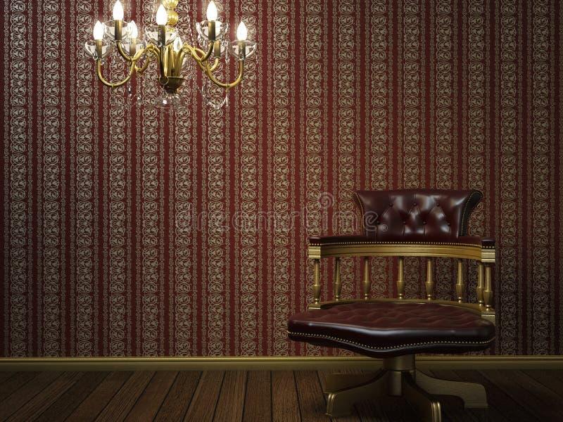 Armchair vintage vintage armchair wallpaper in striped interior chandelier.  stock illustration