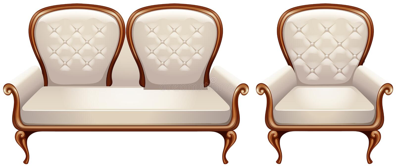 Armchair with white leather. Illustration royalty free illustration