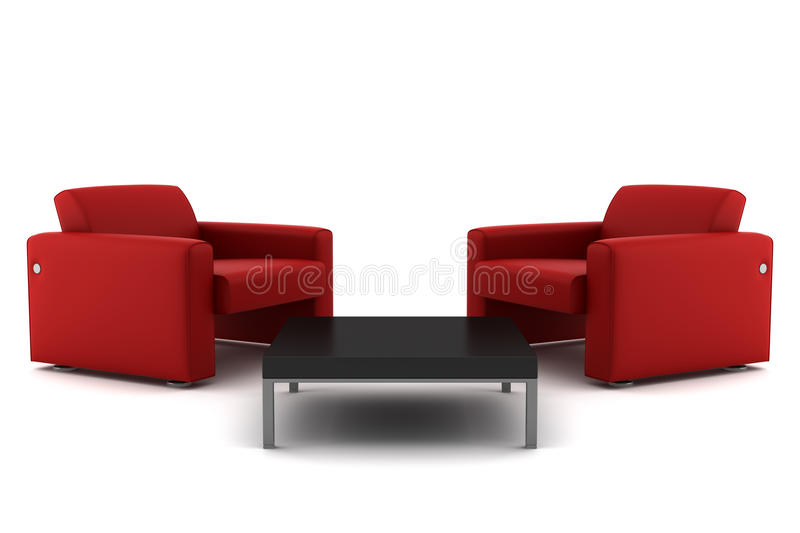 armchairs isolated red table two white royaltyfri illustrationer