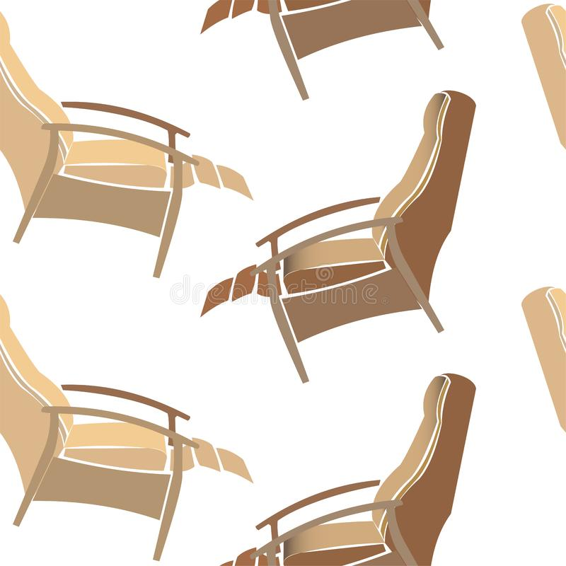 Armchairs seamless pattern. Lounge chair, brown recliner chair isolated on transparent background, psychiatrist chair royalty free illustration
