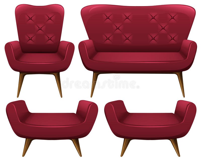 Armchairs and sofa in red. Illustration vector illustration