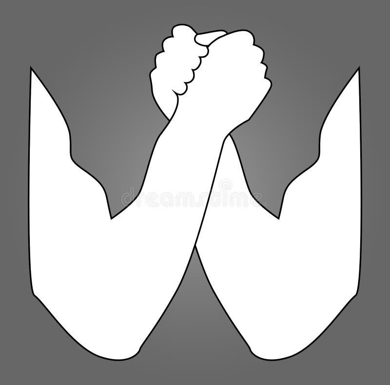 Armdrückenschattenbild Armdrücken, Hände, Vektorillustration, für Logo, Ihr Design Zwei menschliche Hände, die vec sich halten vektor abbildung