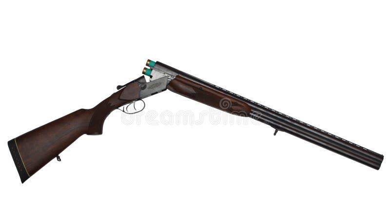 Arme à feu à deux coups ouverte de chasse avec deux cartouches vertes d'isolement sur le blanc photographie stock libre de droits
