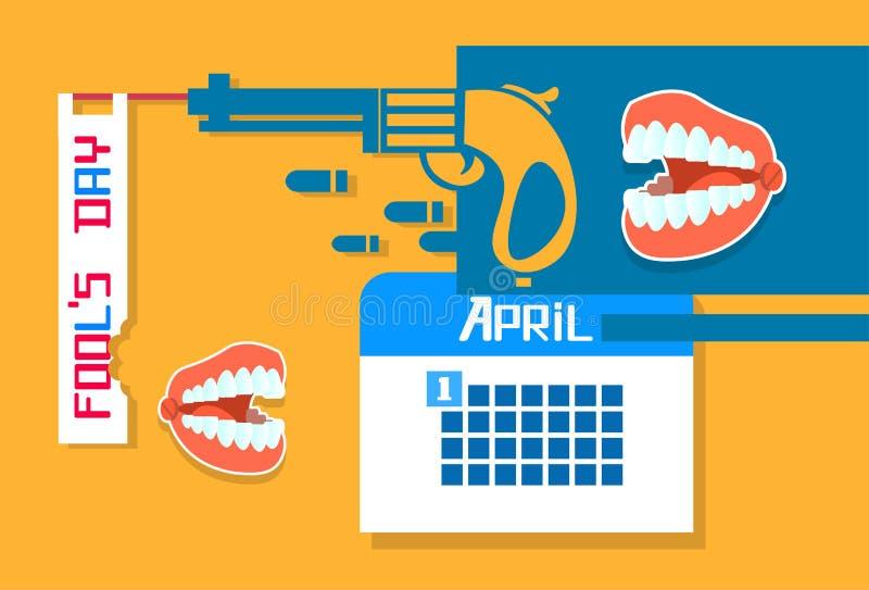 Arme à feu abstraite, calendrier, jour April Holiday d'imbécile de dents de mâchoire illustration de vecteur