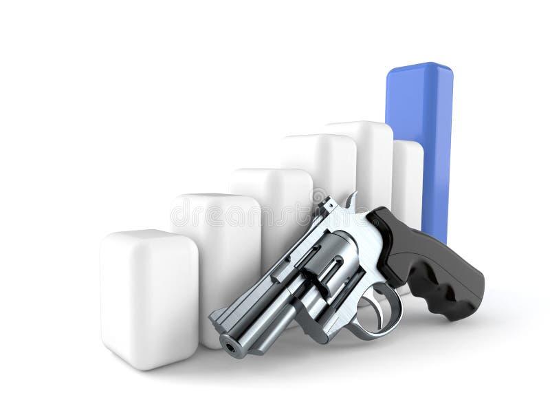 Arme à feu avec le diagramme illustration stock