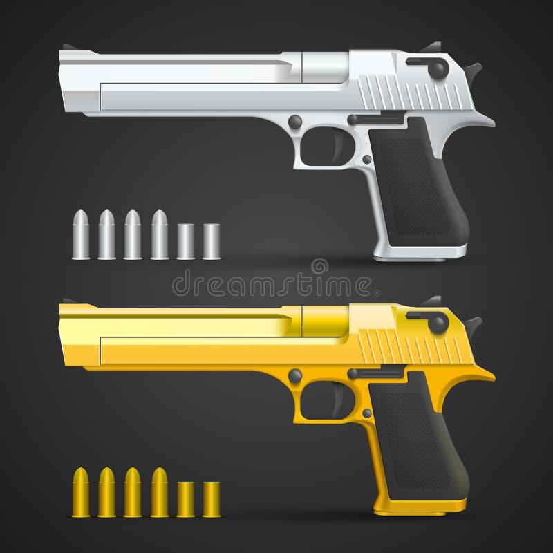 Arme à feu d'or et d'argent illustration libre de droits