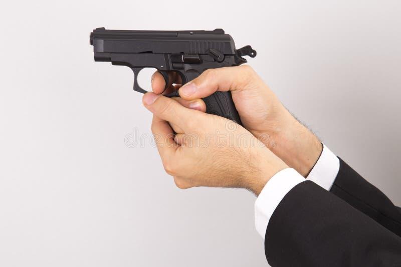 Arme à feu de participation d'homme, photo d'isolement, image libre de droits
