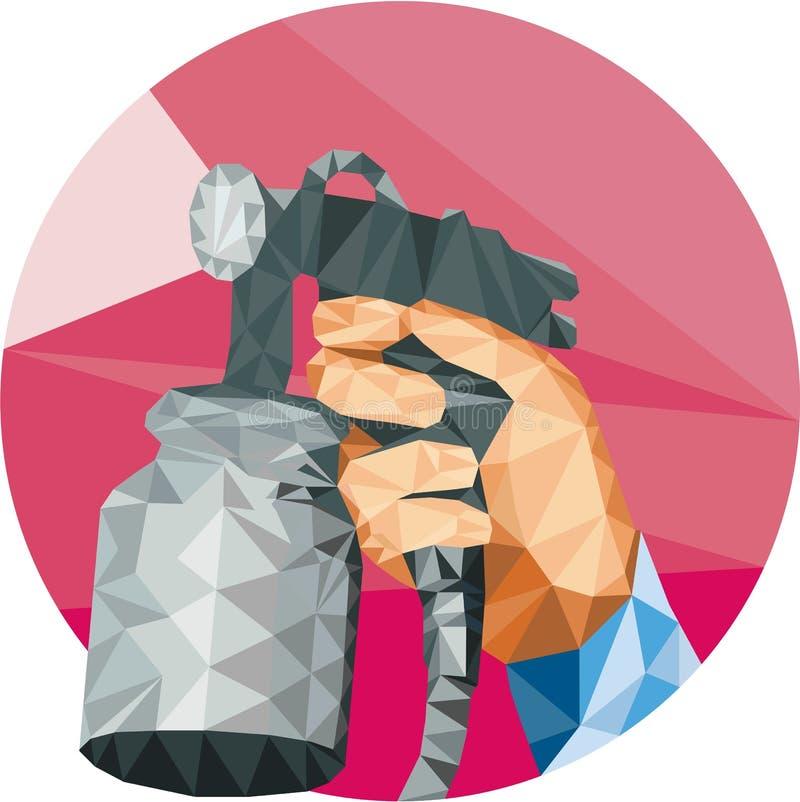 Arme à feu de peinture de jet de main pulvérisant le bas polygone illustration de vecteur
