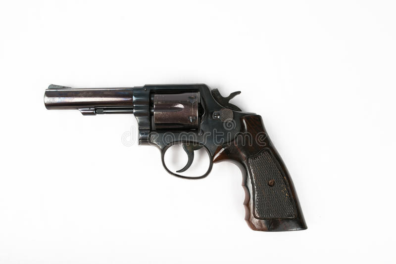 Arme à feu noire de revolver d'isolement sur le fond blanc photos libres de droits