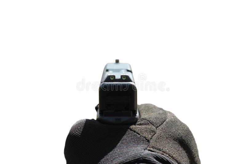 Arme à feu se dirigeant sur le fond blanc images stock