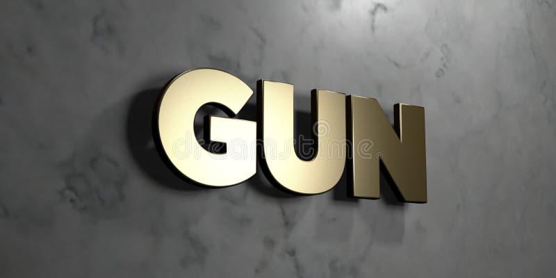 Arme à feu - signe d'or monté sur le mur de marbre brillant - illustration courante gratuite de redevance rendue par 3D illustration de vecteur
