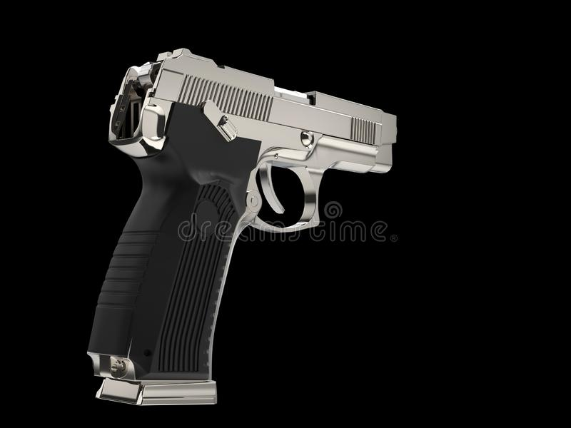 Arme à feu tactique moderne métallique de main - vue arrière illustration stock