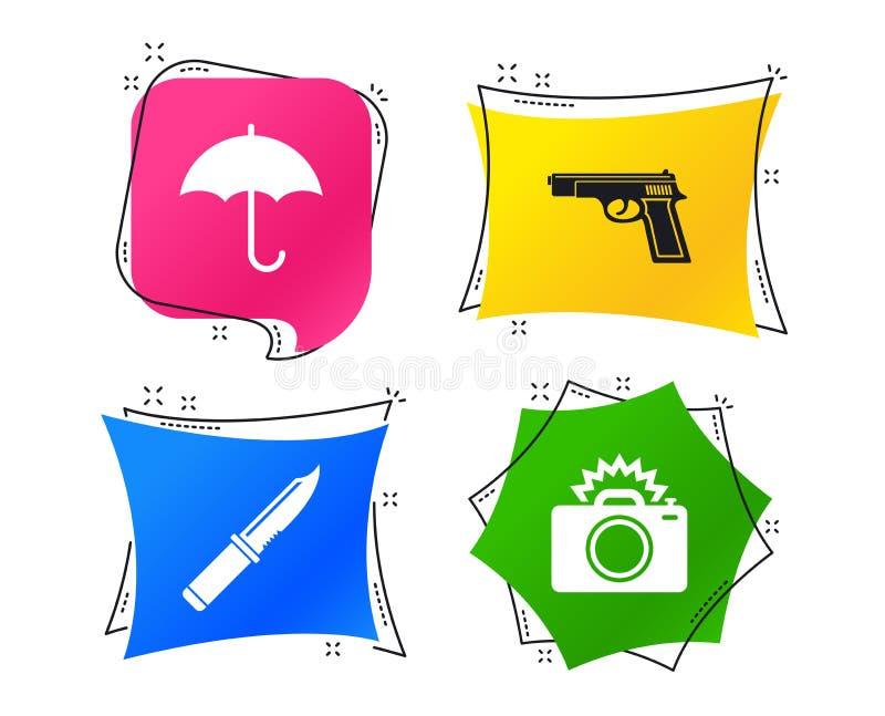 Arme d'arme à feu Appareil-photo de couteau, de parapluie et de photo Vecteur illustration stock