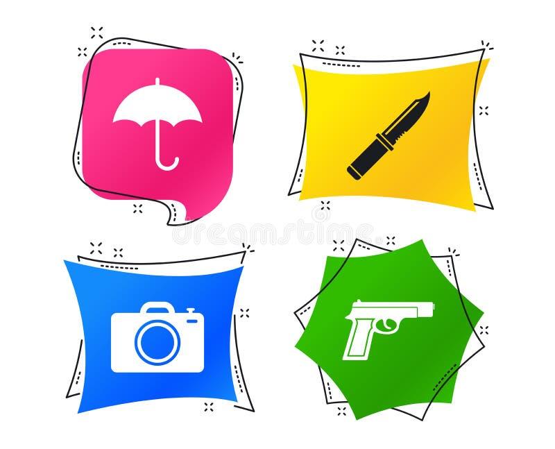 Arme d'arme à feu Appareil-photo de couteau, de parapluie et de photo Vecteur illustration libre de droits