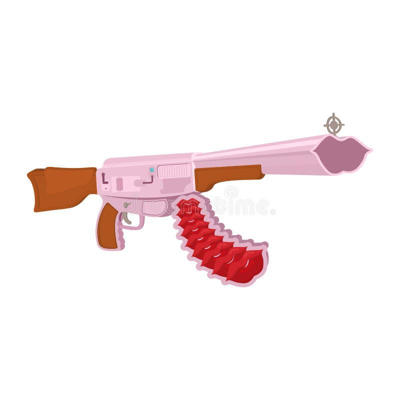 Arme d'amour d'isolement Coeur de munitions de Gunl sur le fond blanc illustration libre de droits