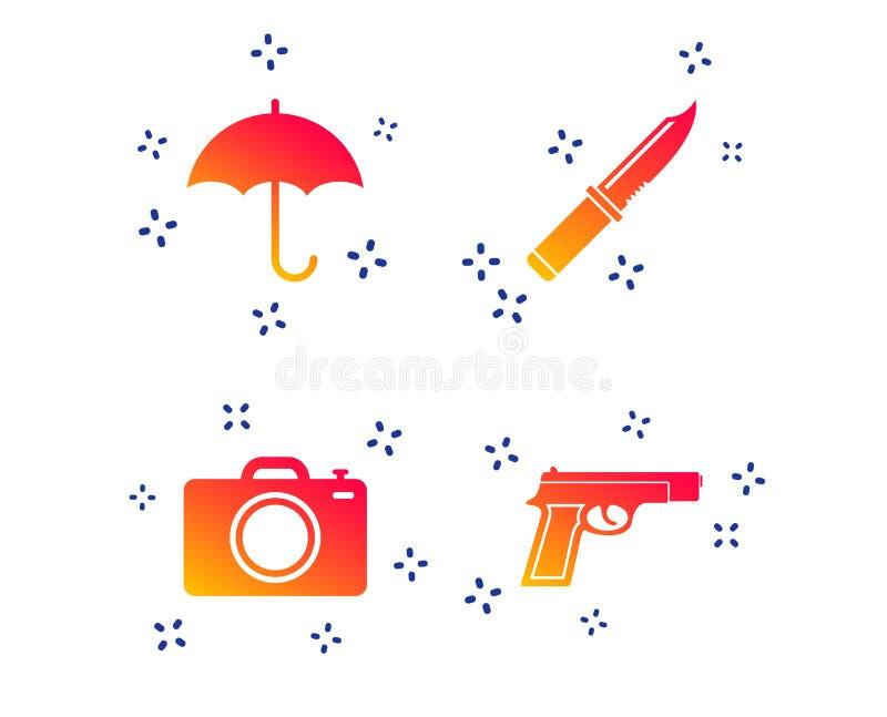 Arme d'arme ? feu Appareil-photo de couteau, de parapluie et de photo Vecteur illustration de vecteur