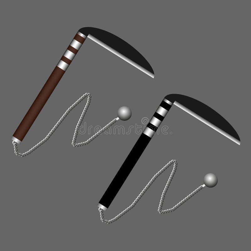 Arme de ninja de Kusarigama d'isolement sur le fond gris Arme japonaise traditionnelle Illustration de vecteur illustration stock