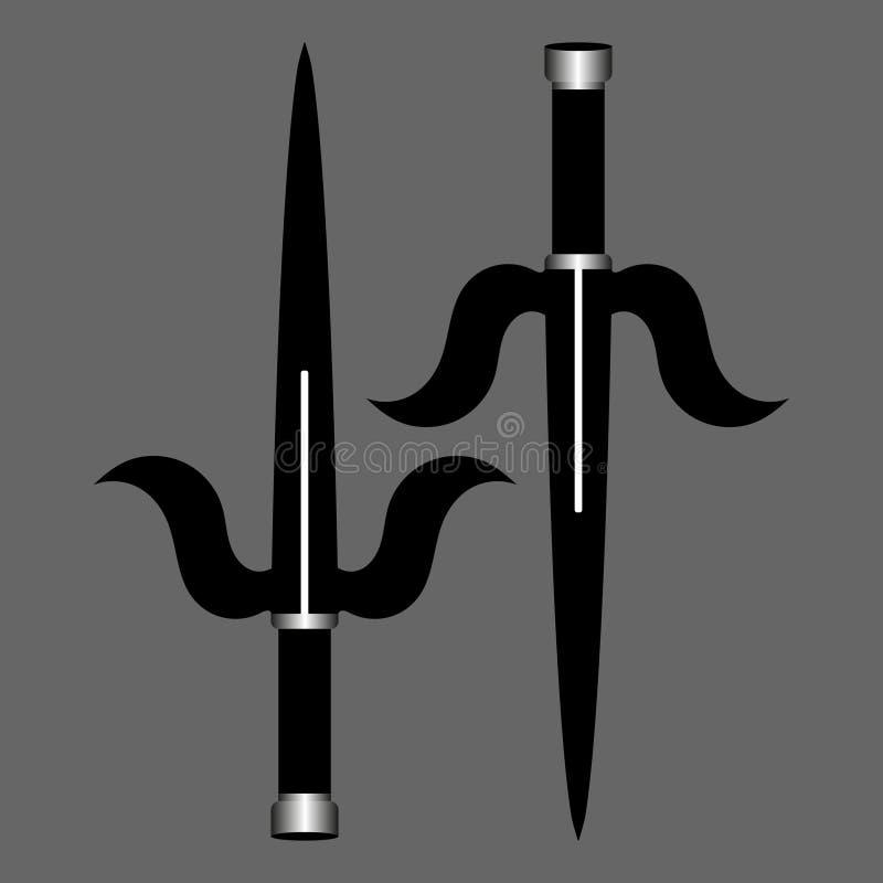 Arme de ninja de Sai d'isolement sur le fond gris Arme de Japonais de tradition Illustration de vecteur illustration stock