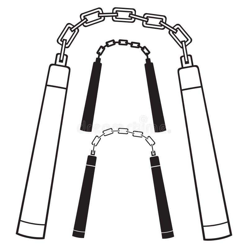 Arme de Nunchaku illustration de vecteur
