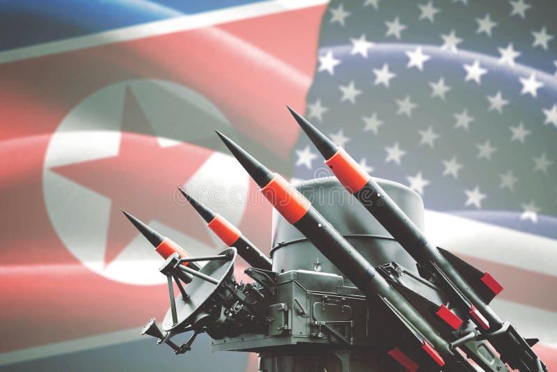 Arme nucléaire avec le drapeau de la Corée du Nord et des Etats-Unis image libre de droits
