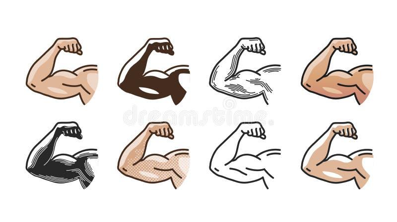 Arme os músculos, o ícone forte da mão ou o símbolo Gym, esportes, aptidão, conceito da saúde Ilustração do vetor ilustração royalty free