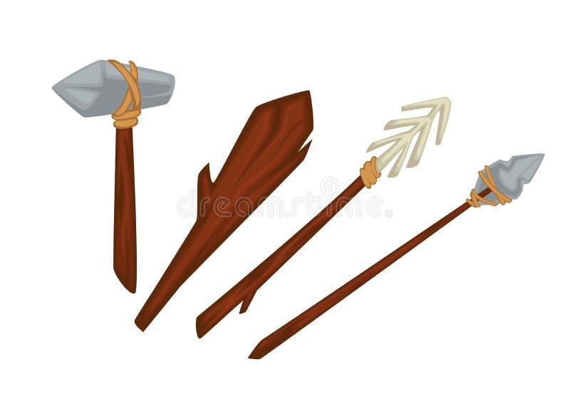 Arme primitive d'âge de pierre de bois et pierre ou os illustration stock