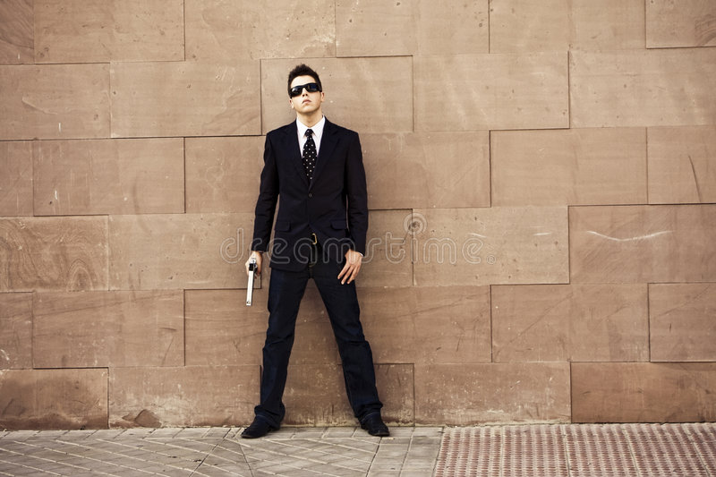 Armed agent ready stock photo