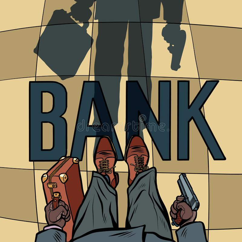 Armed Bank robbery royalty free illustration