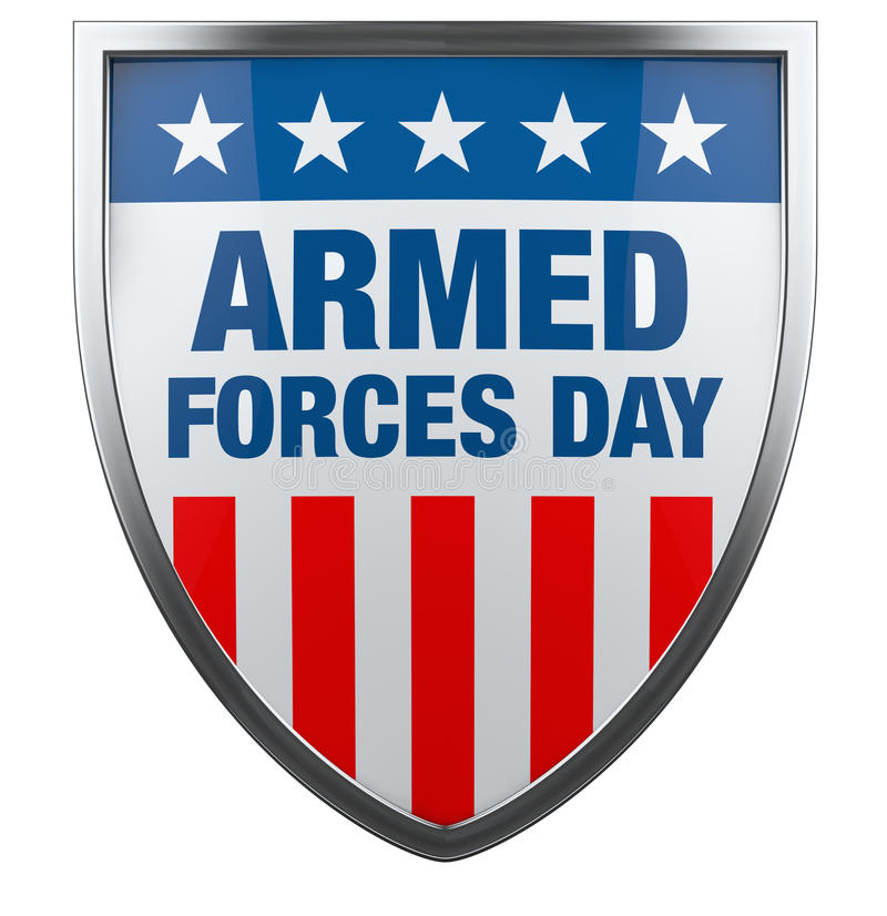 Armed Forces Day USA. American flag defence shield image isolated on white vector illustration